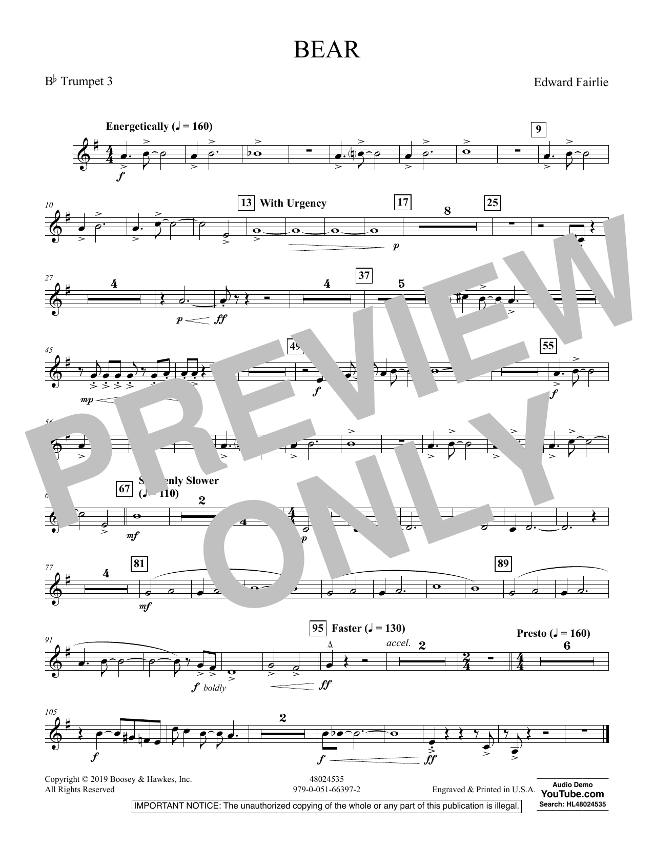 Edward Fairlie Bear - Bb Trumpet 3 sheet music preview music notes and score for Concert Band including 1 page(s)