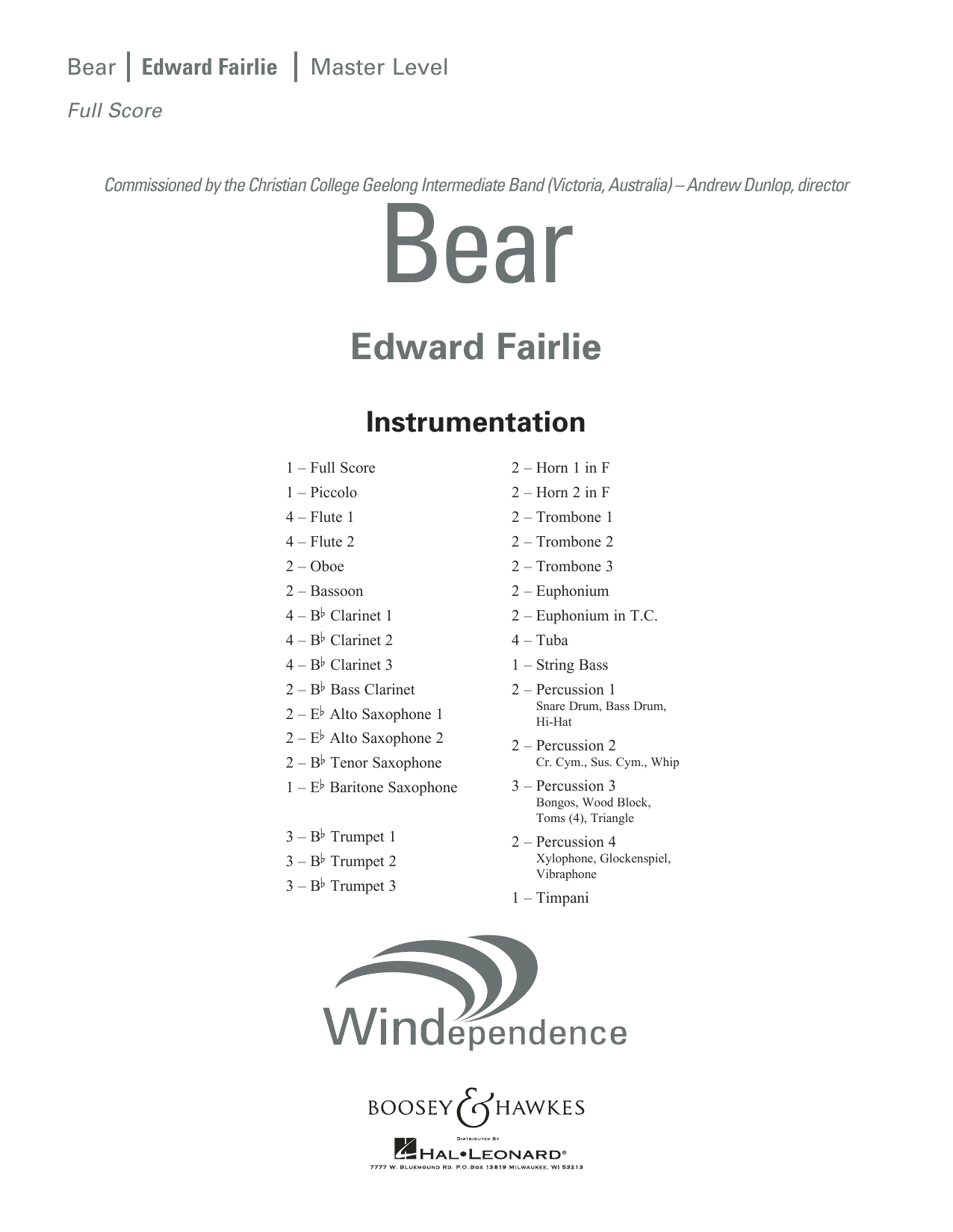 Edward Fairlie Bear - Conductor Score (Full Score) sheet music preview music notes and score for Concert Band including 20 page(s)