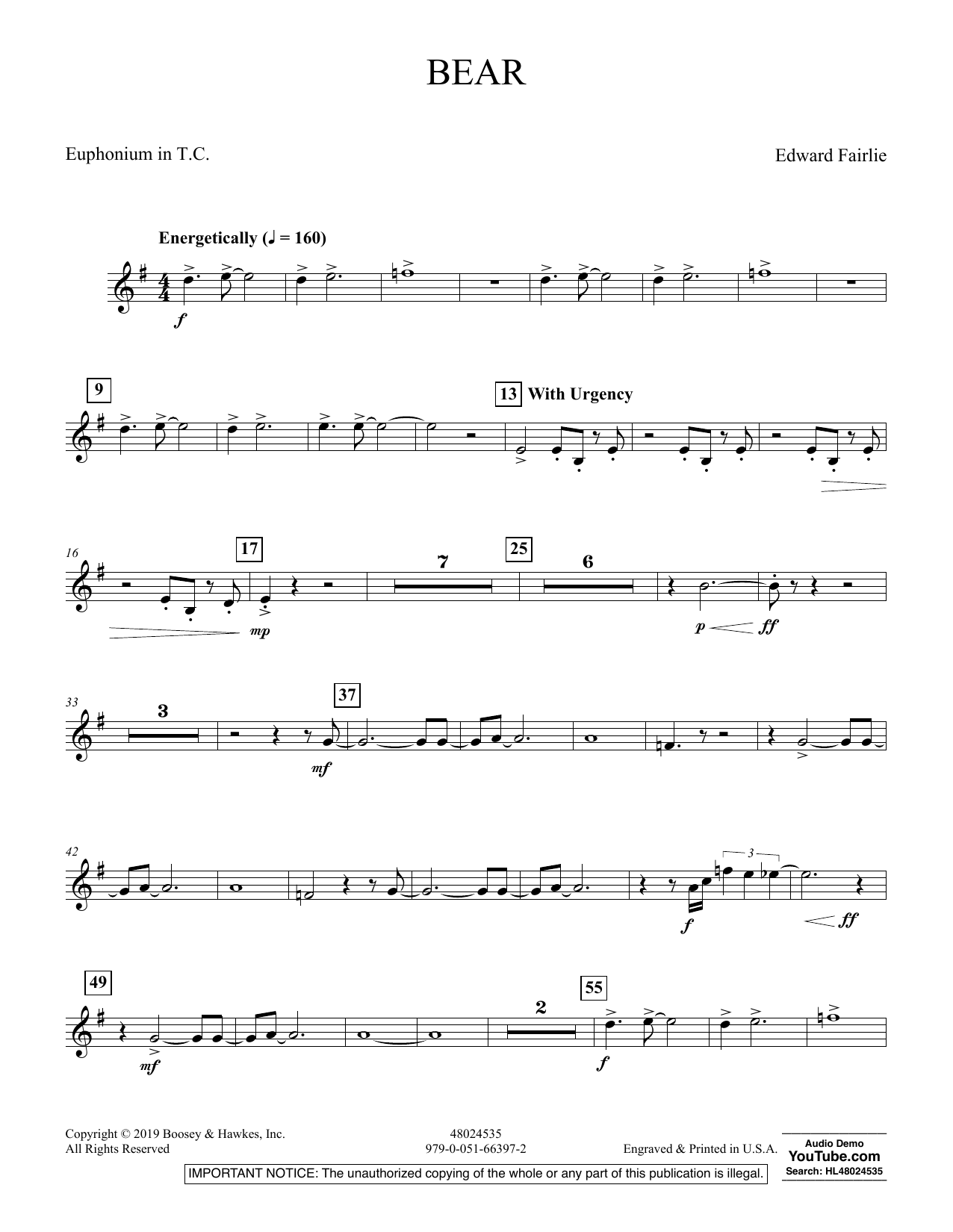 Edward Fairlie Bear - Euphonium TC sheet music preview music notes and score for Concert Band including 2 page(s)