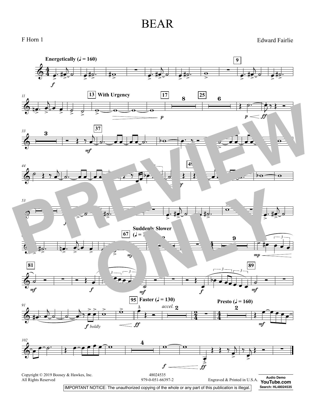 Edward Fairlie Bear - F Horn 1 sheet music preview music notes and score for Concert Band including 1 page(s)