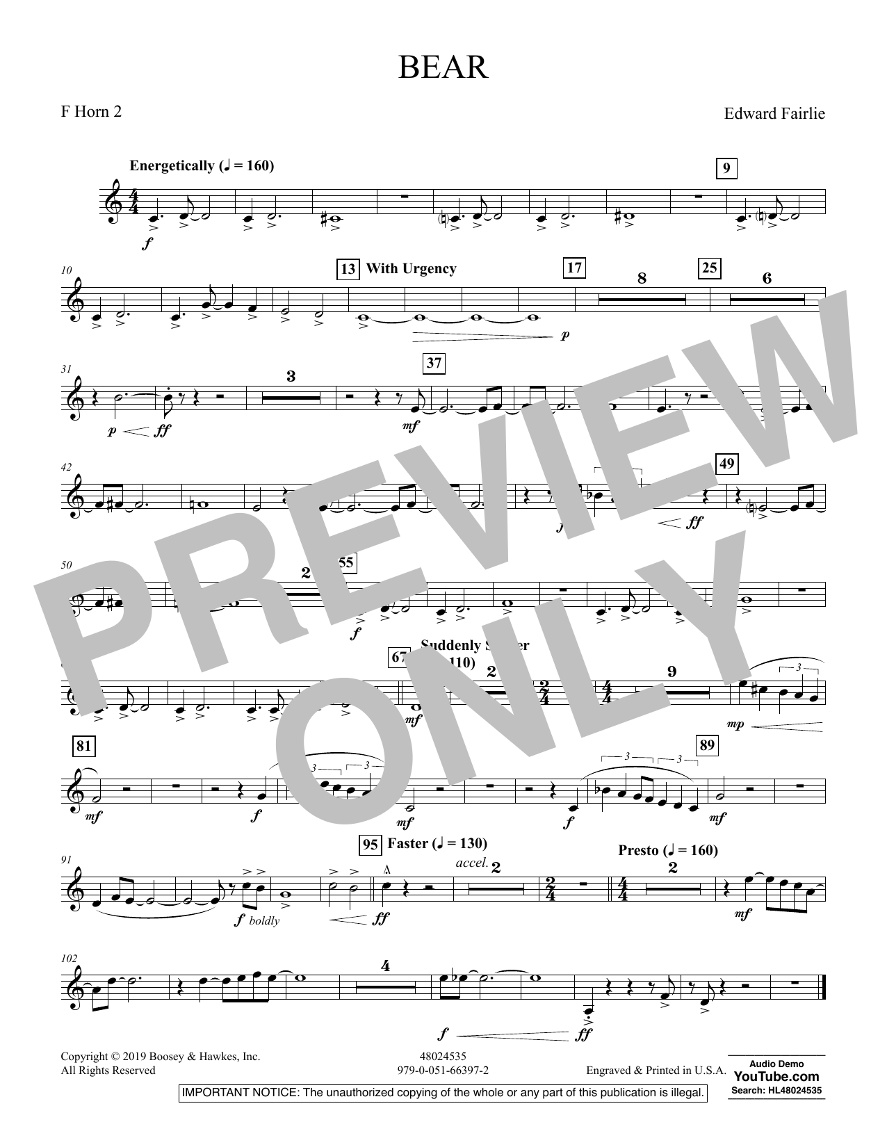 Edward Fairlie Bear - F Horn 2 sheet music preview music notes and score for Concert Band including 1 page(s)