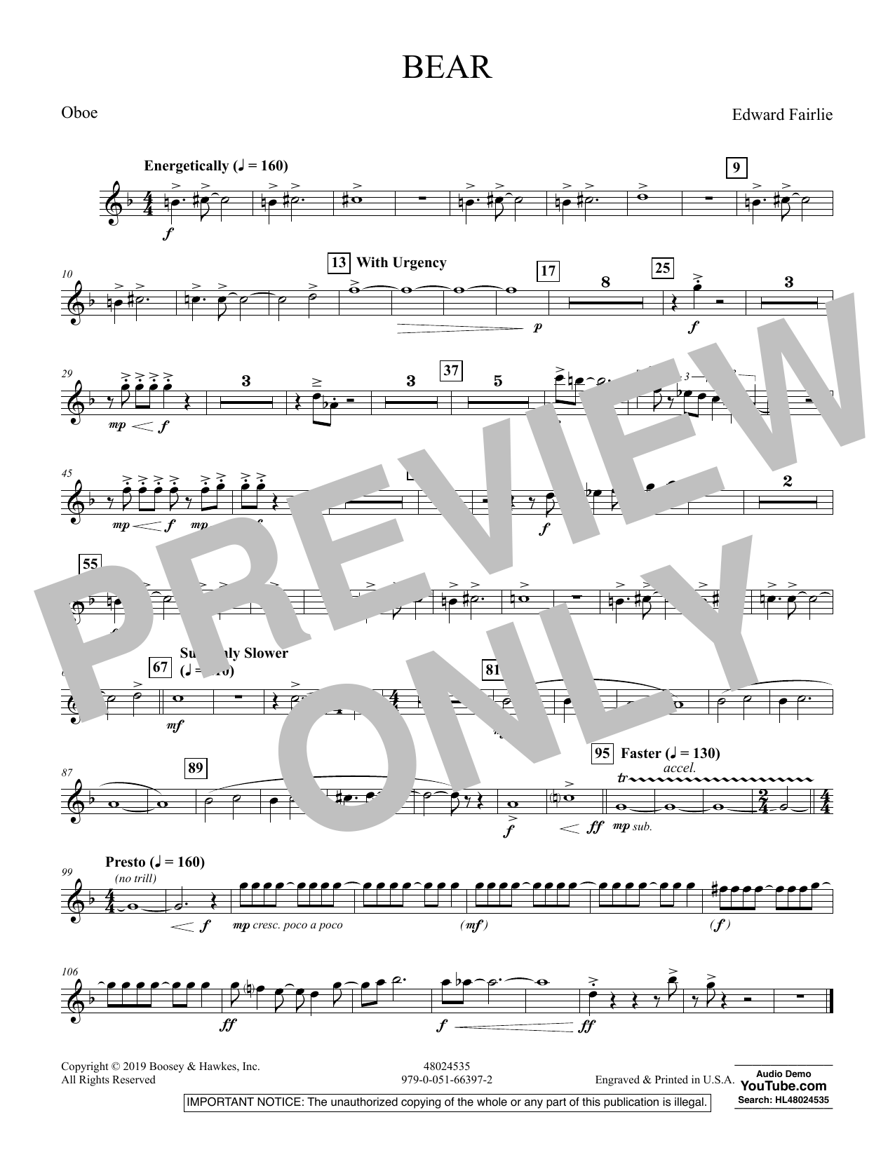 Edward Fairlie Bear - Oboe sheet music preview music notes and score for Concert Band including 1 page(s)