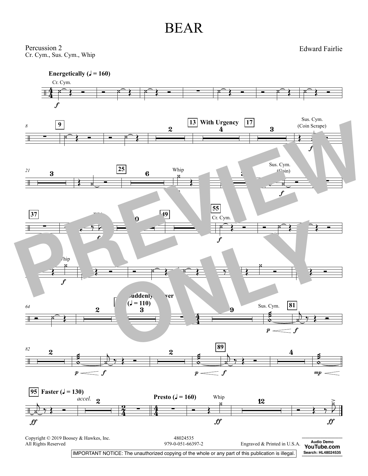 Edward Fairlie Bear - Percussion 2 sheet music preview music notes and score for Concert Band including 1 page(s)