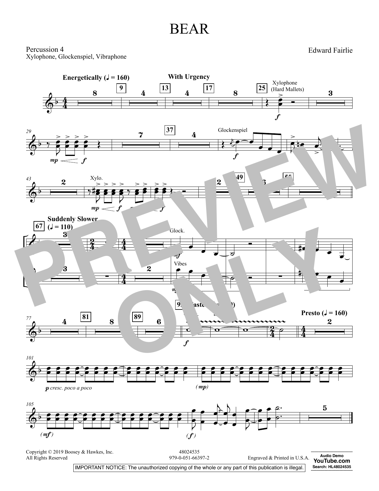 Edward Fairlie Bear - Percussion 4 sheet music preview music notes and score for Concert Band including 1 page(s)