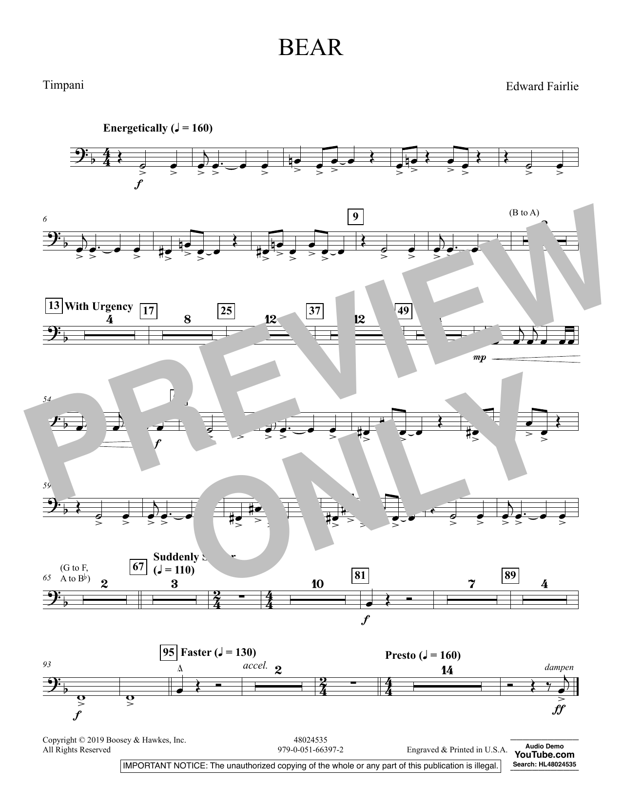 Edward Fairlie Bear - Timpani sheet music preview music notes and score for Concert Band including 1 page(s)