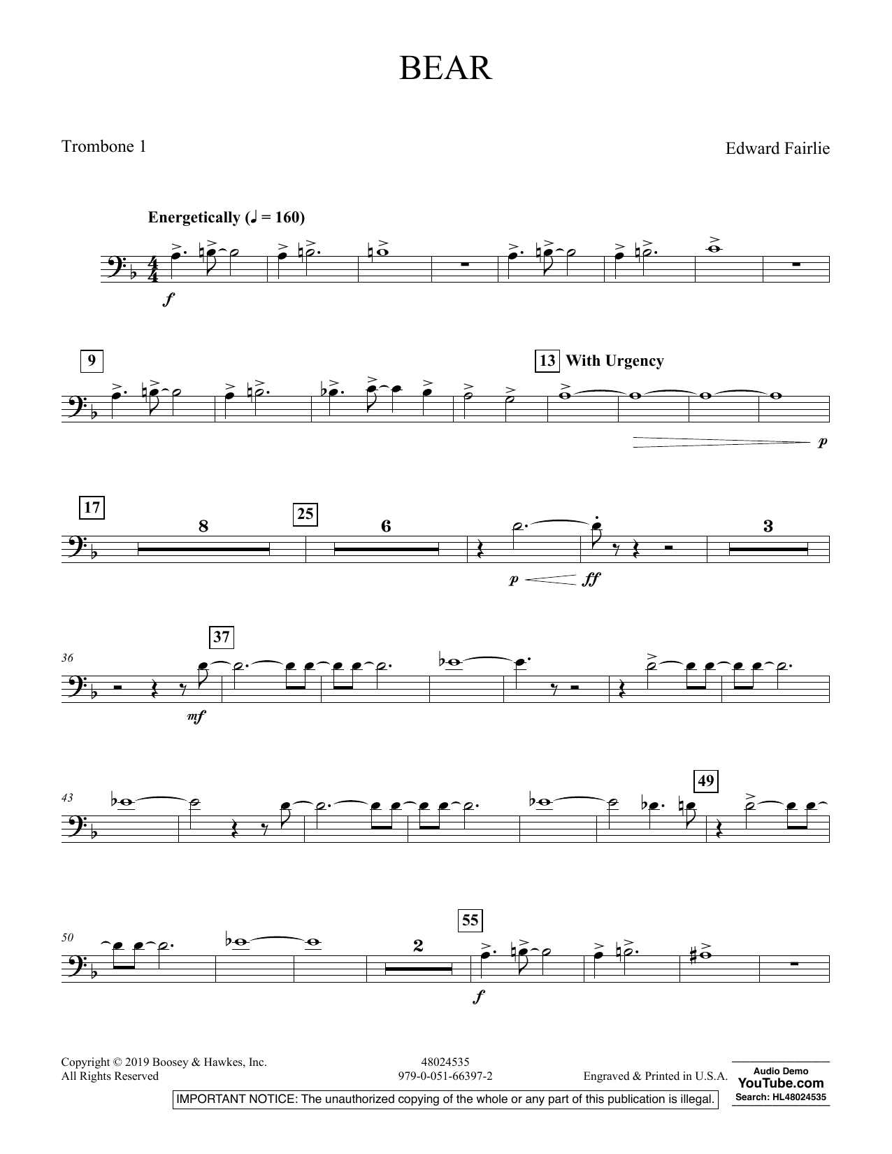 Edward Fairlie Bear - Trombone 1 sheet music preview music notes and score for Concert Band including 2 page(s)