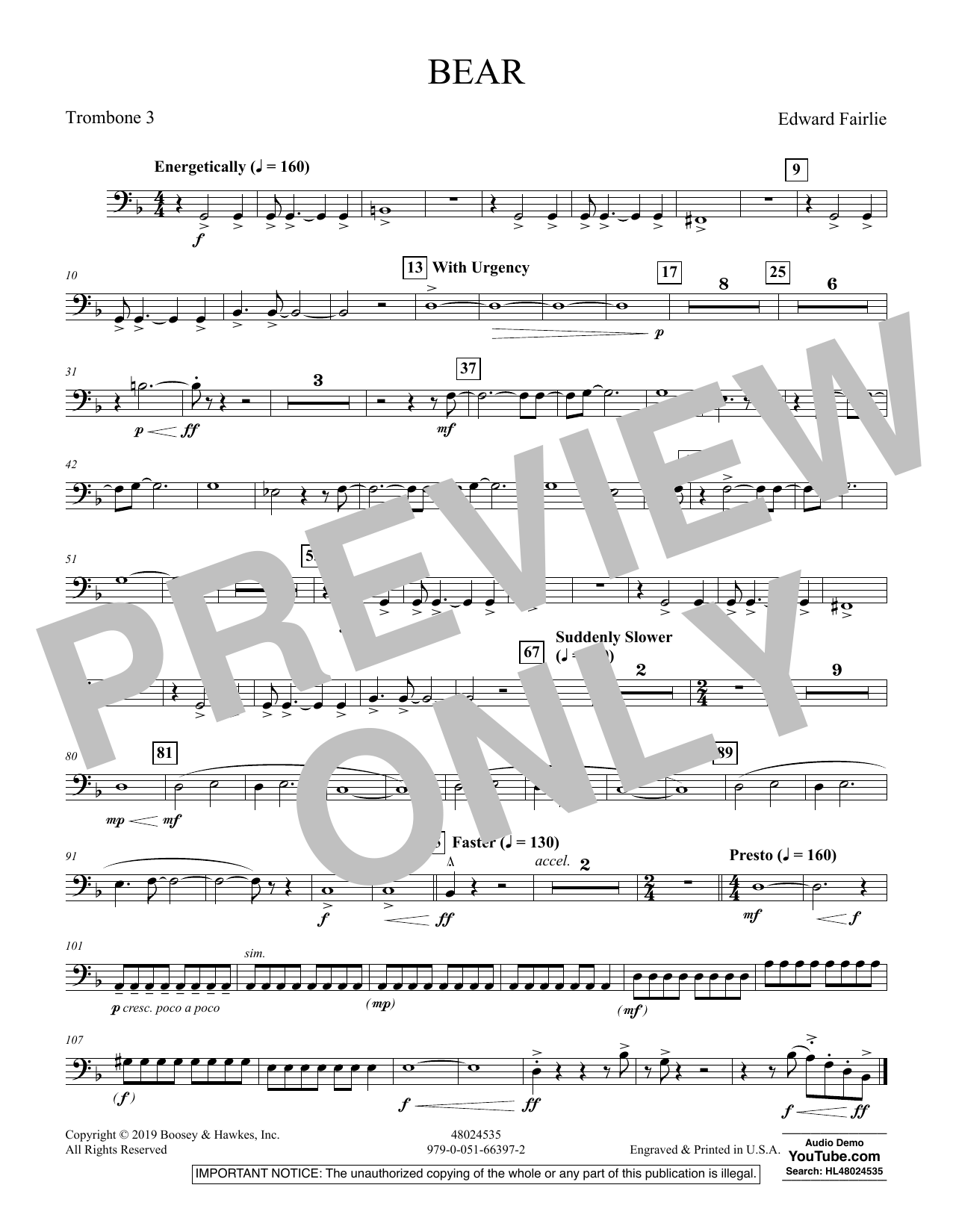 Edward Fairlie Bear - Trombone 3 sheet music preview music notes and score for Concert Band including 1 page(s)
