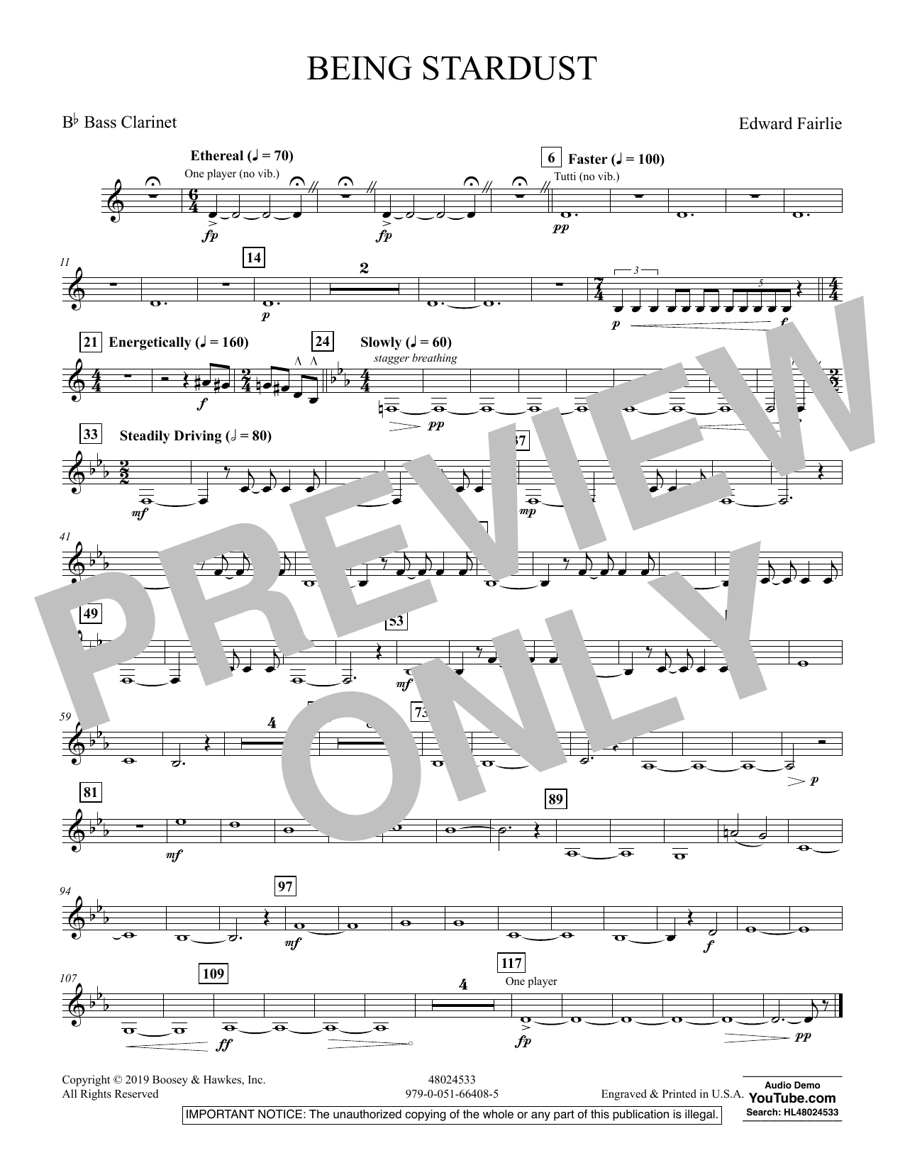 Edward Fairlie Being Stardust - Bb Bass Clarinet sheet music preview music notes and score for Concert Band including 1 page(s)
