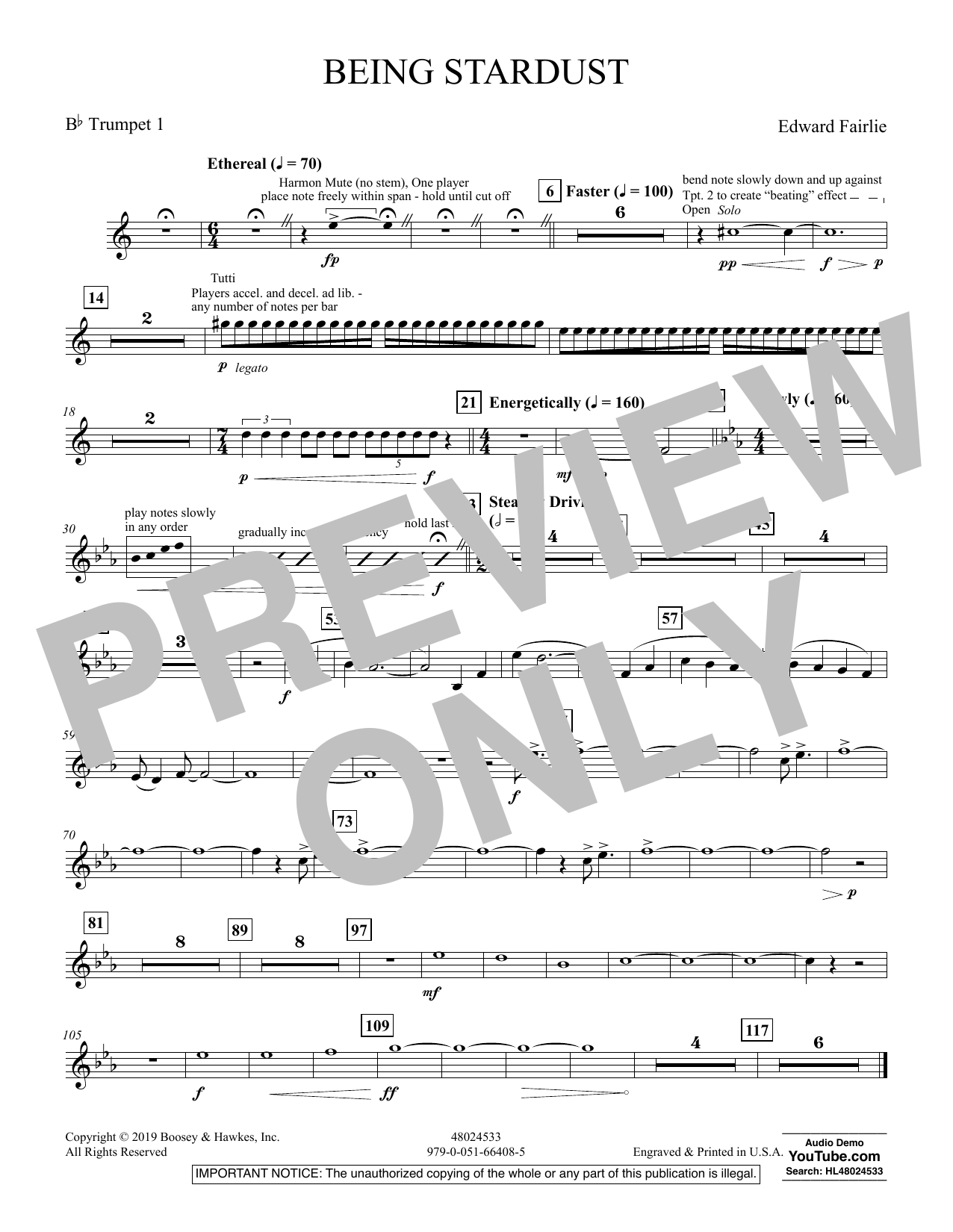 Edward Fairlie Being Stardust - Bb Trumpet 1 sheet music preview music notes and score for Concert Band including 1 page(s)