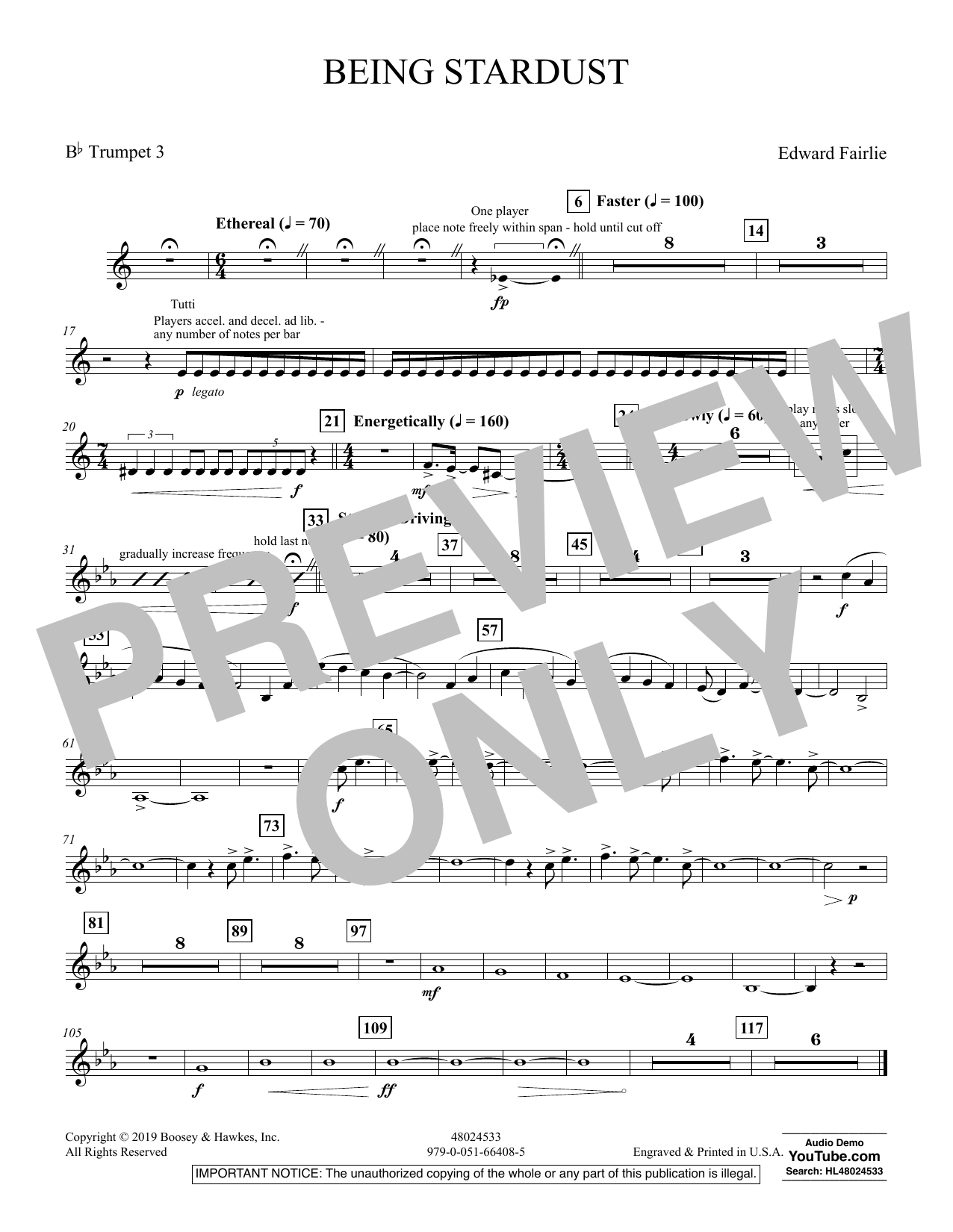 Edward Fairlie Being Stardust - Bb Trumpet 3 sheet music preview music notes and score for Concert Band including 1 page(s)