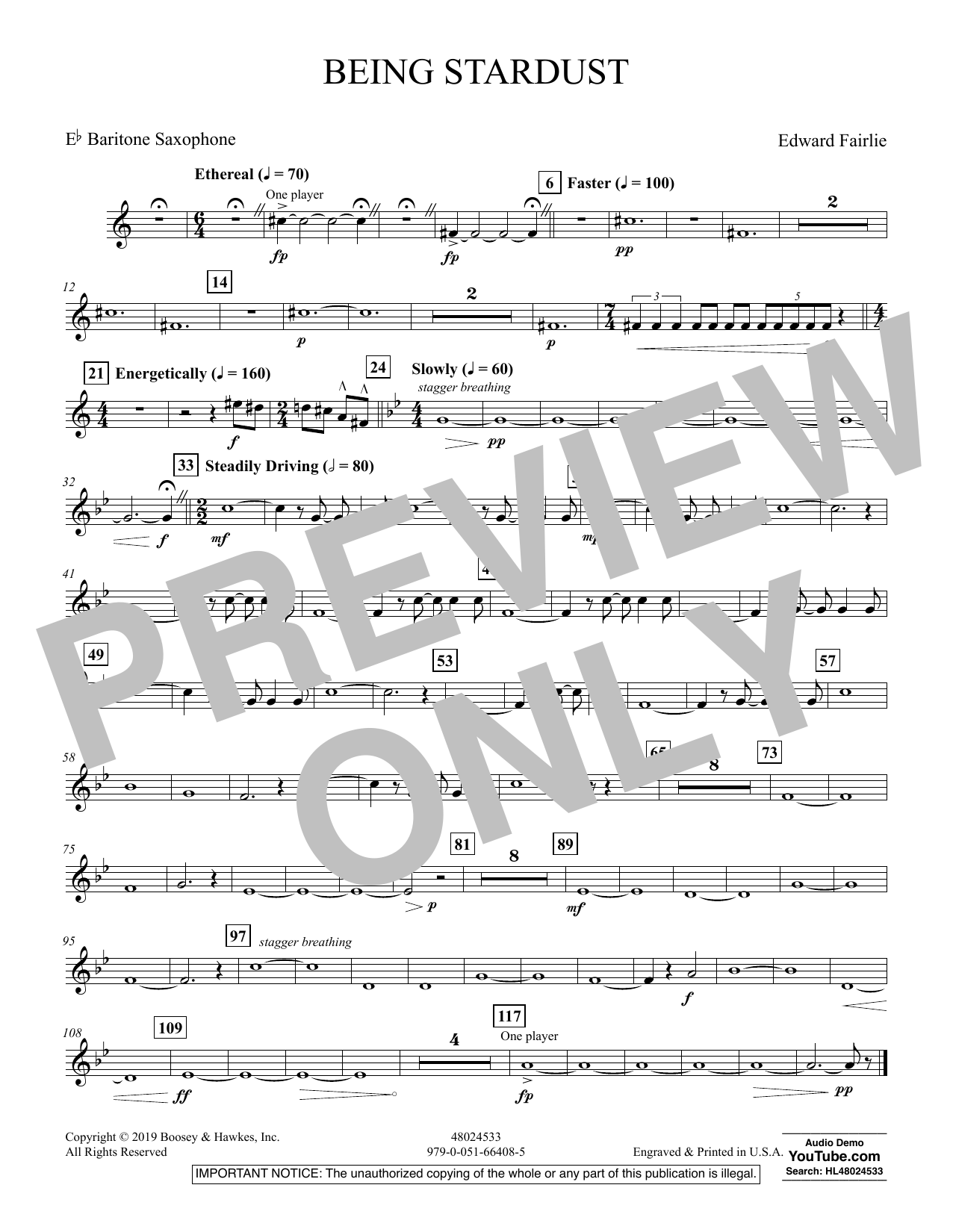 Edward Fairlie Being Stardust - Eb Baritone Saxophone sheet music preview music notes and score for Concert Band including 1 page(s)