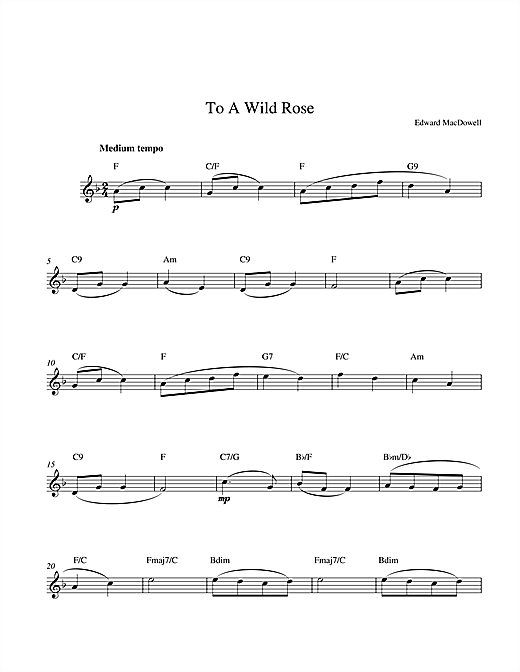 Edward MacDowell To a Wild Rose sheet music preview music notes and score for String Solo including 3 page(s)