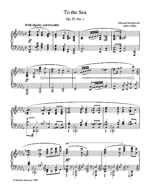 Edward MacDowell To The Sea sheet music notes and chords