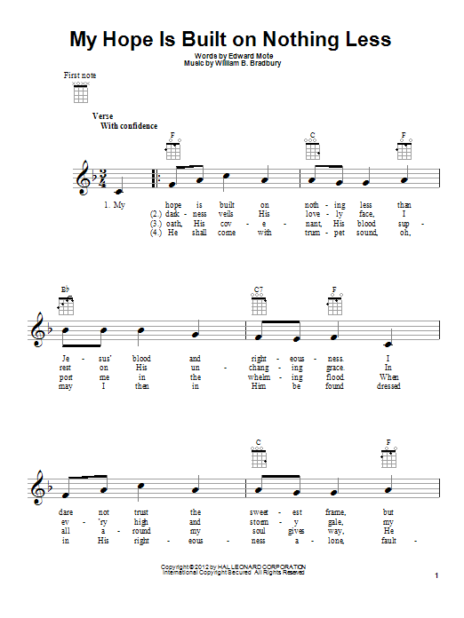 Edward Mote My Hope Is Built On Nothing Less sheet music preview music notes and score for Ukulele including 2 page(s)
