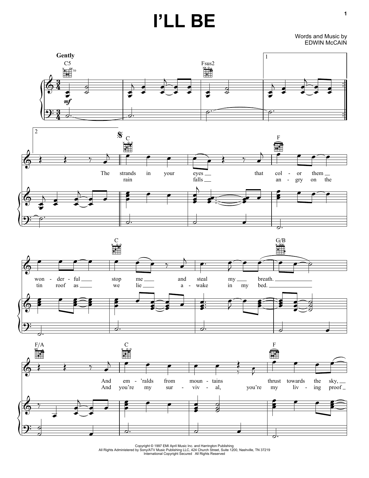 Edwin McCain I'll Be sheet music preview music notes and score for Guitar Tab including 5 page(s)