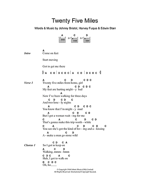 Edwin Starr Twenty Five Miles sheet music notes and chords