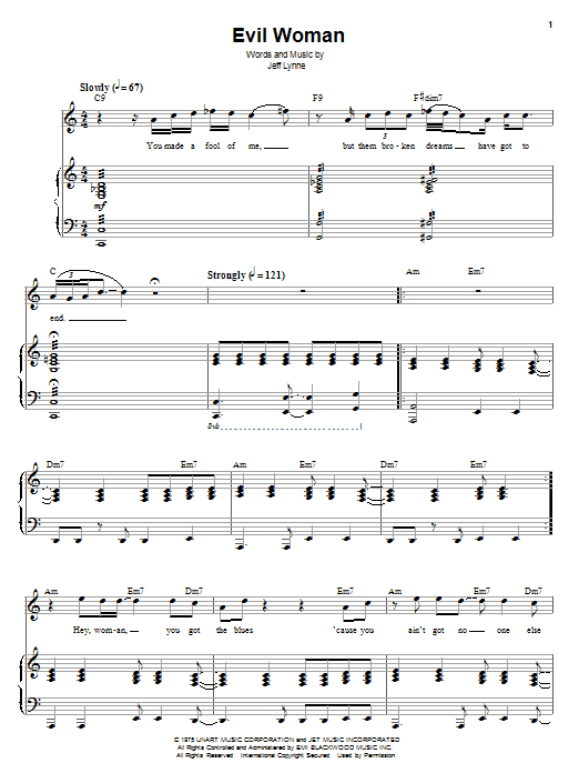 Electric Light Orchestra Evil Woman sheet music preview music notes and score for Lyrics & Chords including 3 page(s)