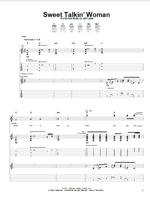 Electric Light Orchestra Sweet Talkin' Woman sheet music preview music notes and score for Lyrics & Piano Chords including 3 page(s)