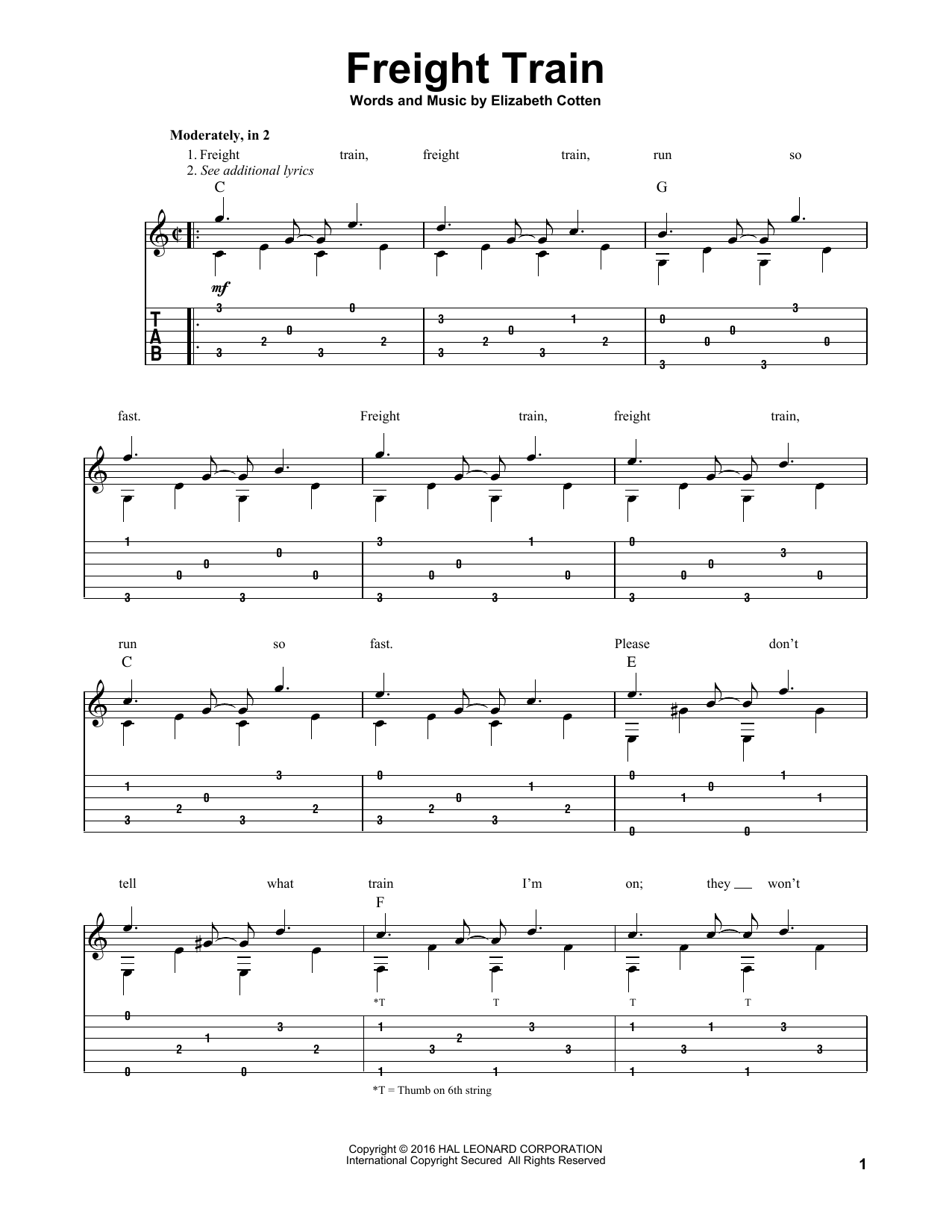 Elizabeth Cotten Freight Train sheet music preview music notes and score for Easy Piano including 2 page(s)