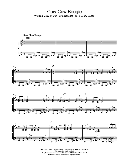 Download Ella Fitzgerald 'Cow-Cow Boogie' Digital Sheet Music Notes & Chords and start playing in minutes