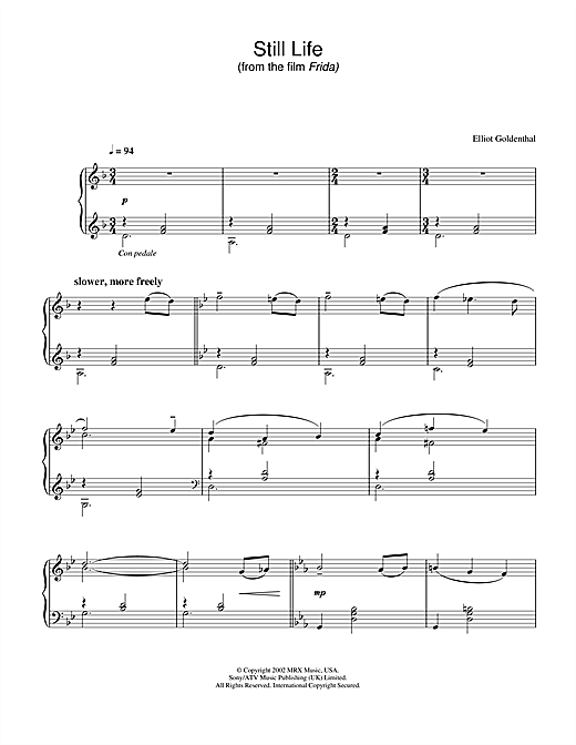 Download Elliot Goldenthal 'Still Life (from Frida)' Digital Sheet Music Notes & Chords and start playing in minutes