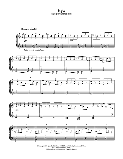 Elliott Smith Bye sheet music notes and chords