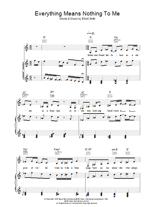 Elliott Smith Everything Means Nothing To Me sheet music preview music notes and score for Piano, Vocal & Guitar including 5 page(s)