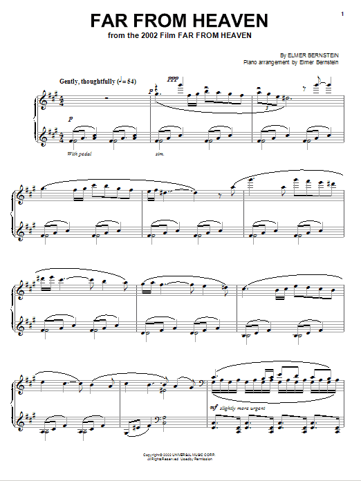 Download Elmer Bernstein 'Far From Heaven' Digital Sheet Music Notes & Chords and start playing in minutes