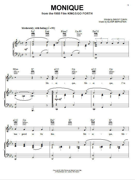 Elmer Bernstein Monique sheet music notes and chords