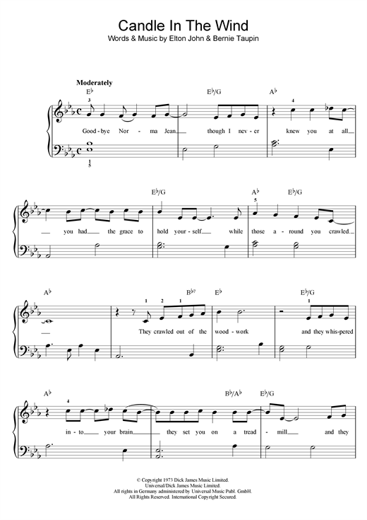 Elton John Candle In The Wind sheet music notes and chords