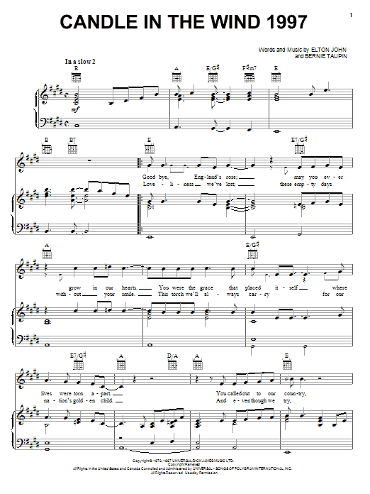 Elton John Candle In The Wind 1997 sheet music preview music notes and score for Piano, Vocal & Guitar (Right-Hand Melody) including 5 page(s)