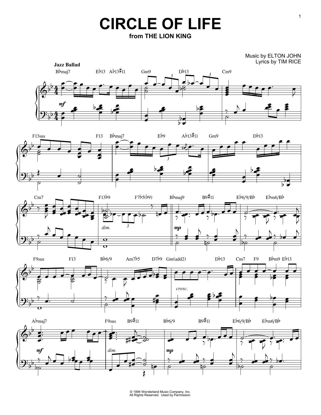 Download Elton John 'Circle Of Life' Digital Sheet Music Notes & Chords and start playing in minutes