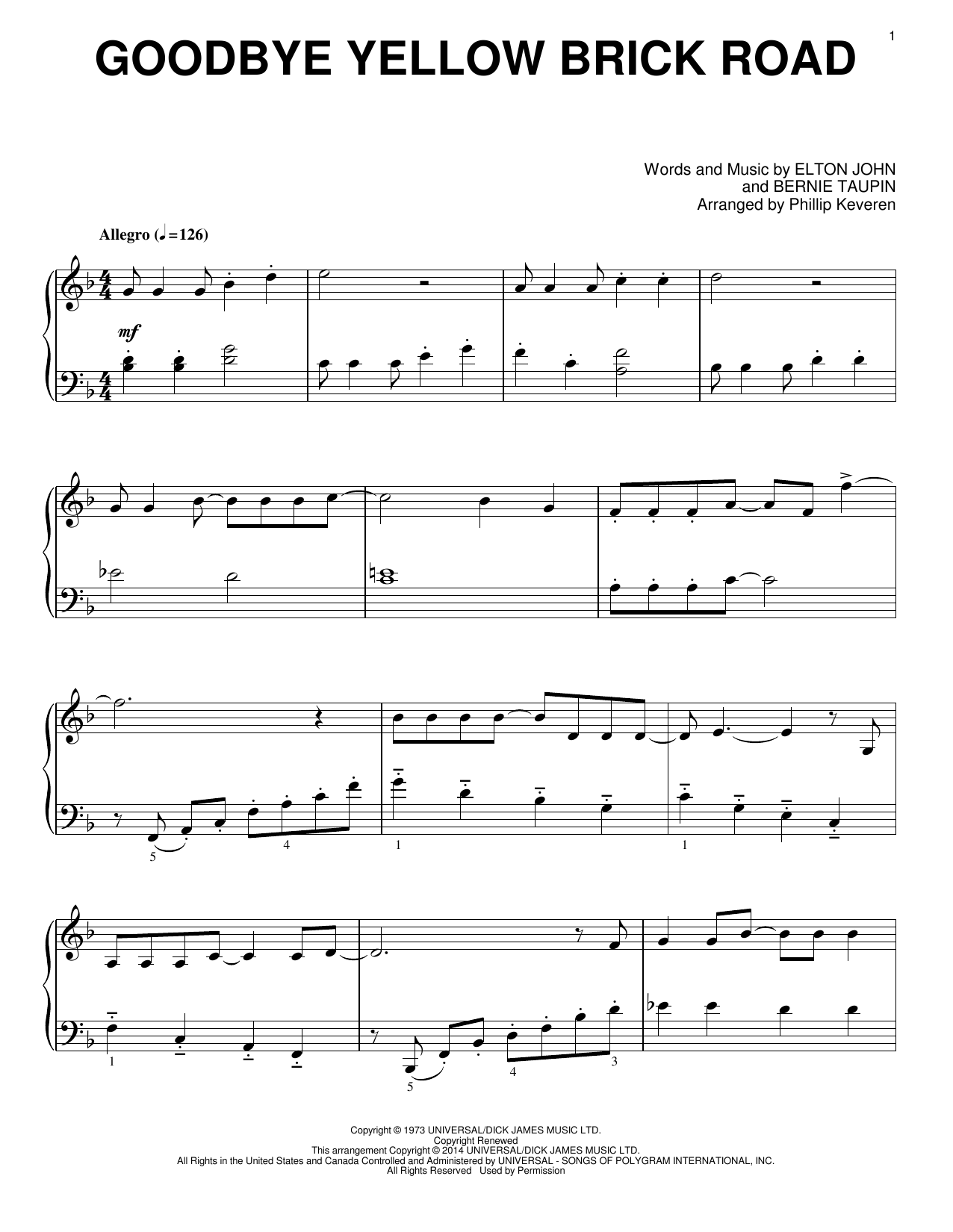Download Phillip Keveren 'Goodbye Yellow Brick Road' Digital Sheet Music Notes & Chords and start playing in minutes