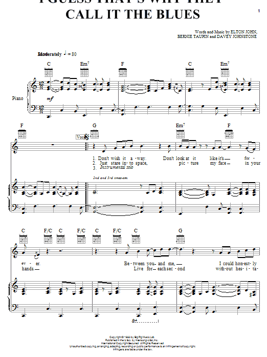 Download Elton John 'I Guess That's Why They Call It The Blues' Digital Sheet Music Notes & Chords and start playing in minutes