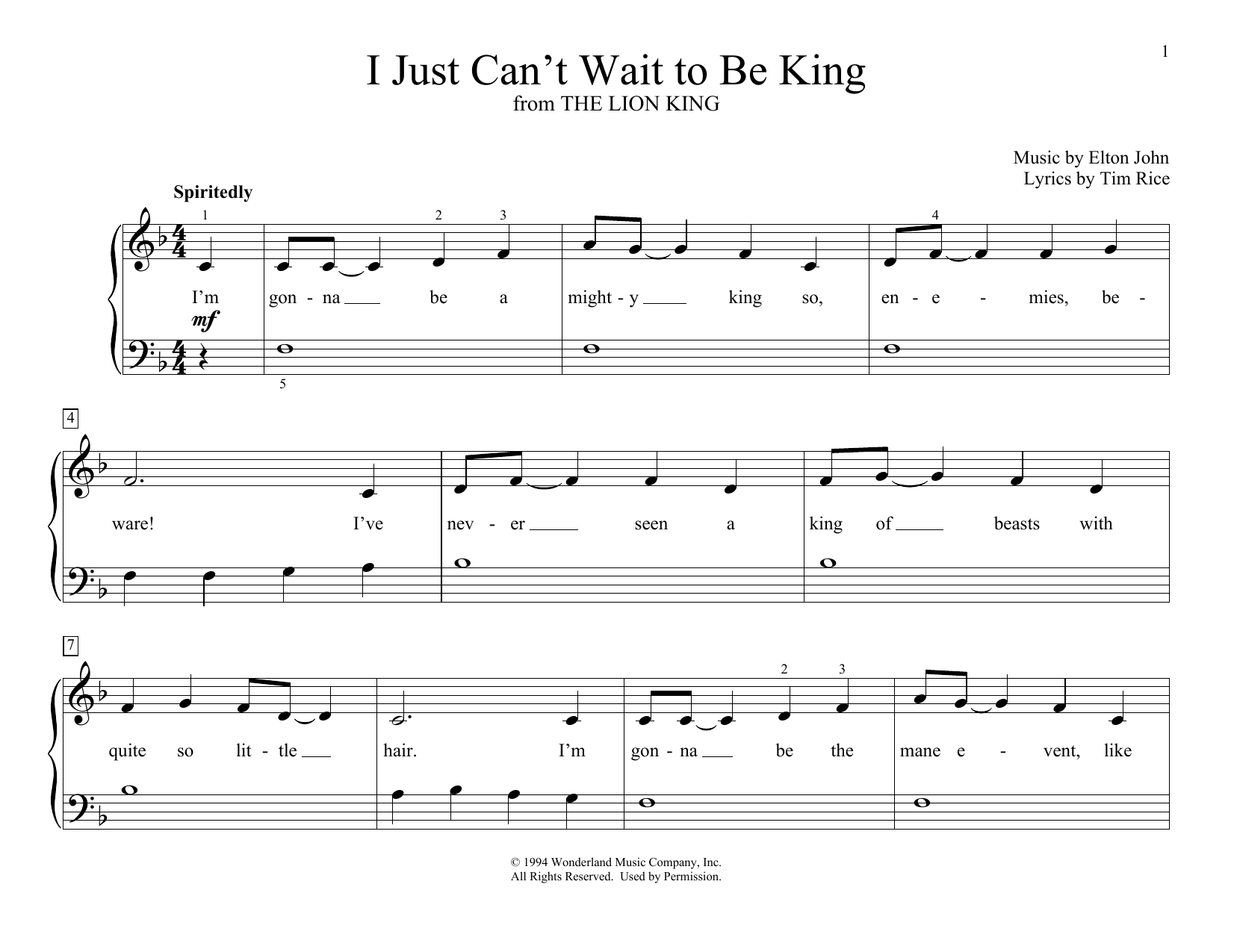 Elton John I Just Can't Wait To Be King (from The Lion King) (arr. Christopher Hussey) sheet music preview music notes and score for Educational Piano including 2 page(s)