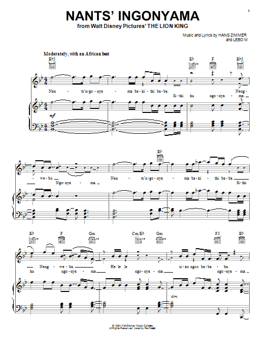 Elton John Nants' Ingonyama sheet music preview music notes and score for Piano, Vocal & Guitar (Right-Hand Melody) including 2 page(s)