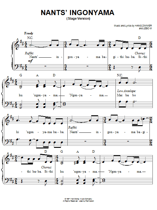 Elton John Nants' Ingonyama (Stage Version) sheet music preview music notes and score for Easy Piano including 3 page(s)