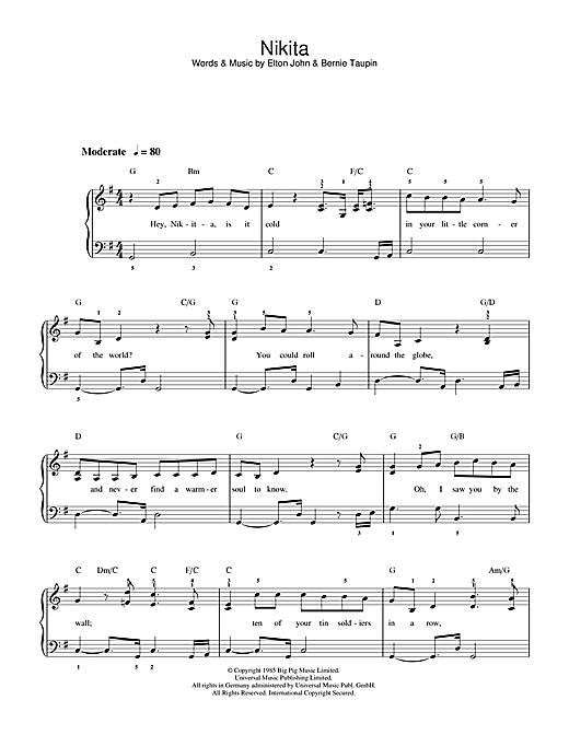 Download Elton John 'Nikita' Digital Sheet Music Notes & Chords and start playing in minutes