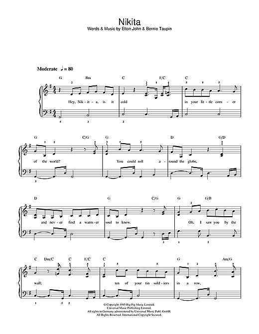 Elton John Nikita sheet music preview music notes and score for Lyrics & Piano Chords including 3 page(s)