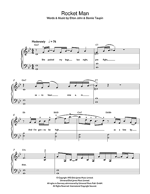 Elton John Rocket Man sheet music preview music notes and score for Beginner Piano including 3 page(s)