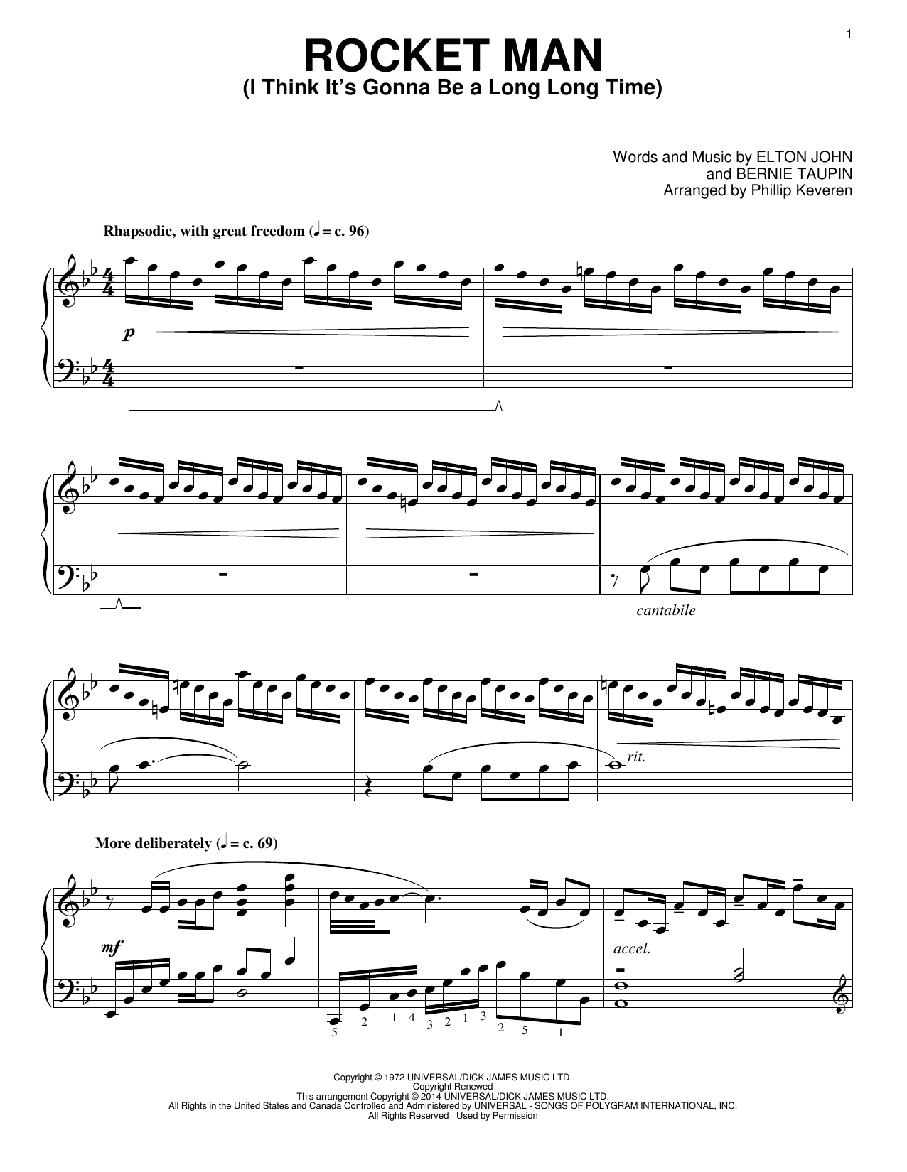 Download Phillip Keveren 'Rocket Man (I Think It's Gonna Be A Long Long Time)' Digital Sheet Music Notes & Chords and start playing in minutes