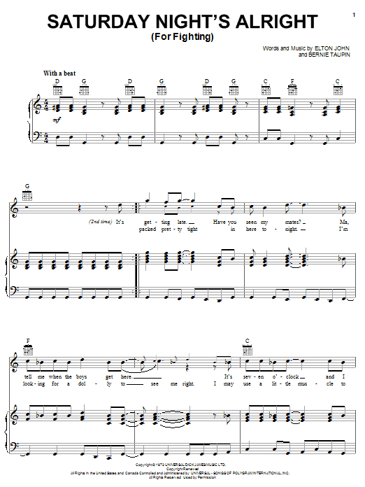 Elton John Saturday Night's Alright (For Fighting) sheet music notes and chords
