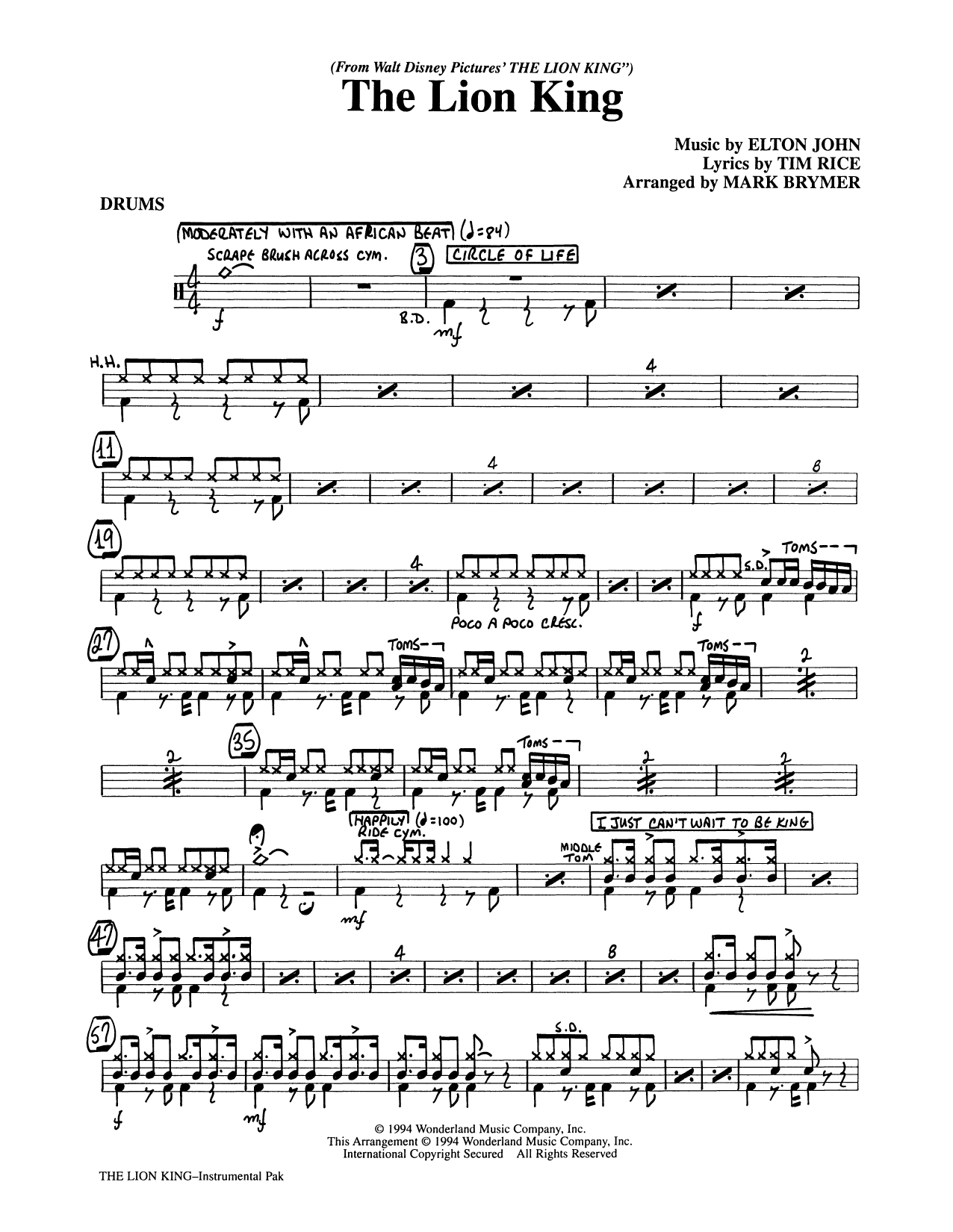 Elton John The Lion King (Medley) (arr. Mark Brymer) - Drums sheet music preview music notes and score for Choir Instrumental Pak including 3 page(s)
