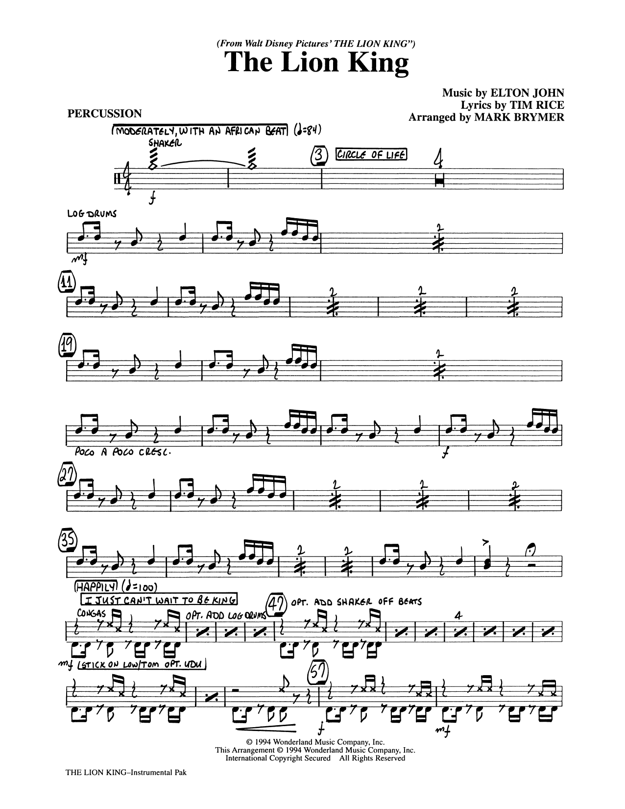 Elton John The Lion King (Medley) (arr. Mark Brymer) - Percussion sheet music preview music notes and score for Choir Instrumental Pak including 3 page(s)