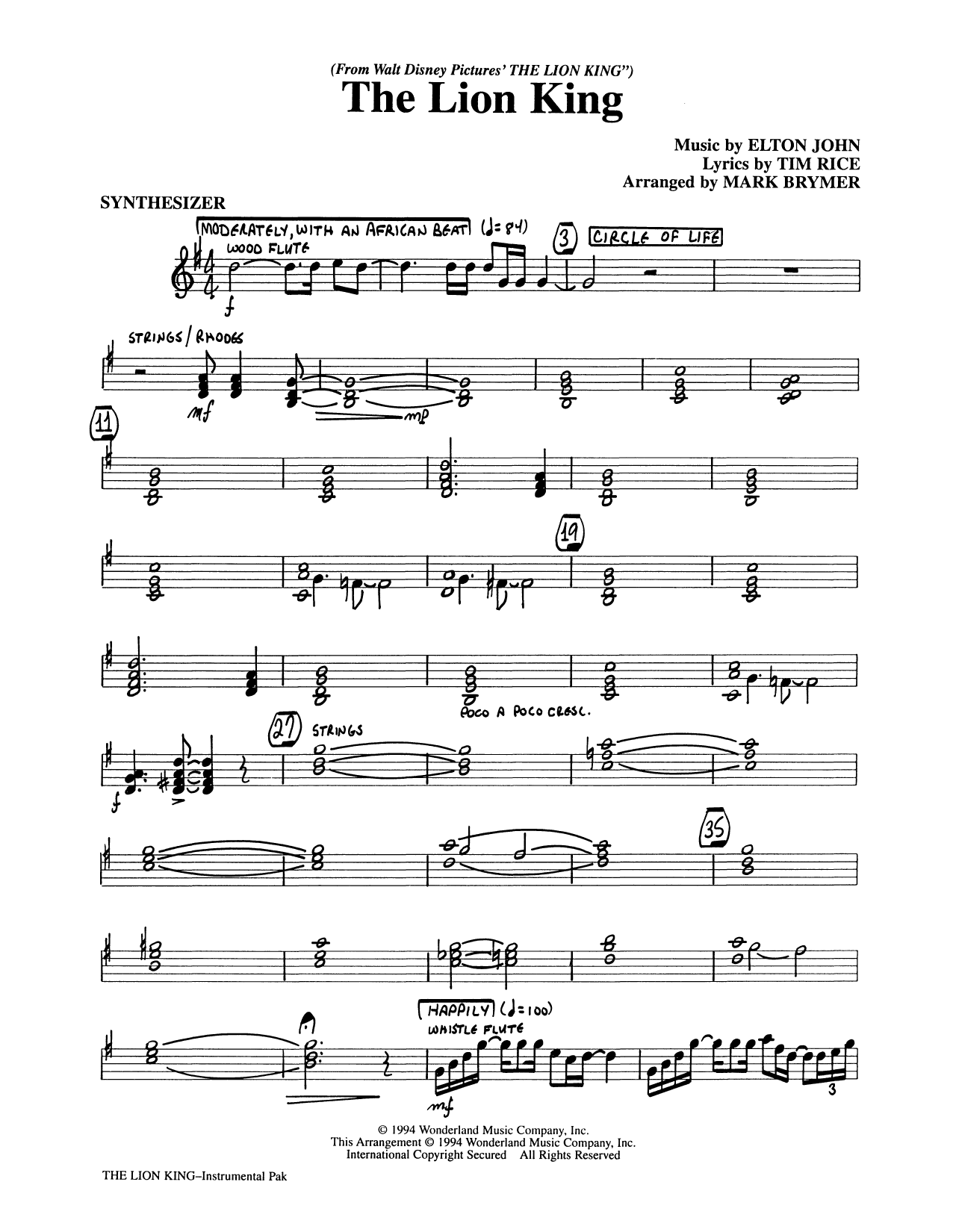 Elton John The Lion King (Medley) (arr. Mark Brymer) - Synthesizer sheet music preview music notes and score for Choir Instrumental Pak including 4 page(s)