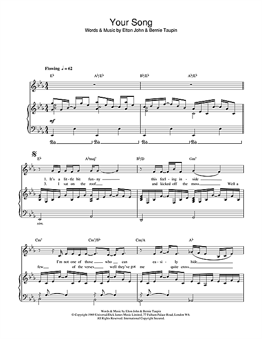 Download Elton John 'Your Song' Digital Sheet Music Notes & Chords and start playing in minutes