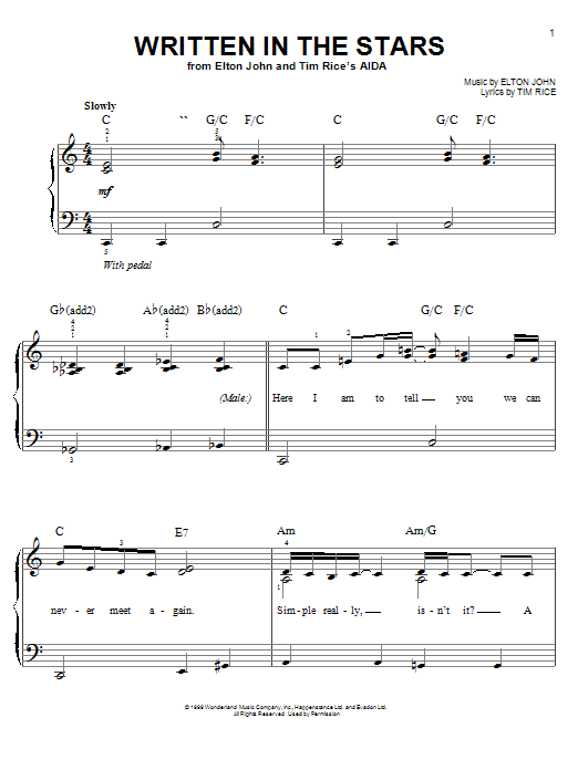 Elton John & LeAnn Rimes Written In The Stars sheet music preview music notes and score for Easy Piano including 5 page(s)