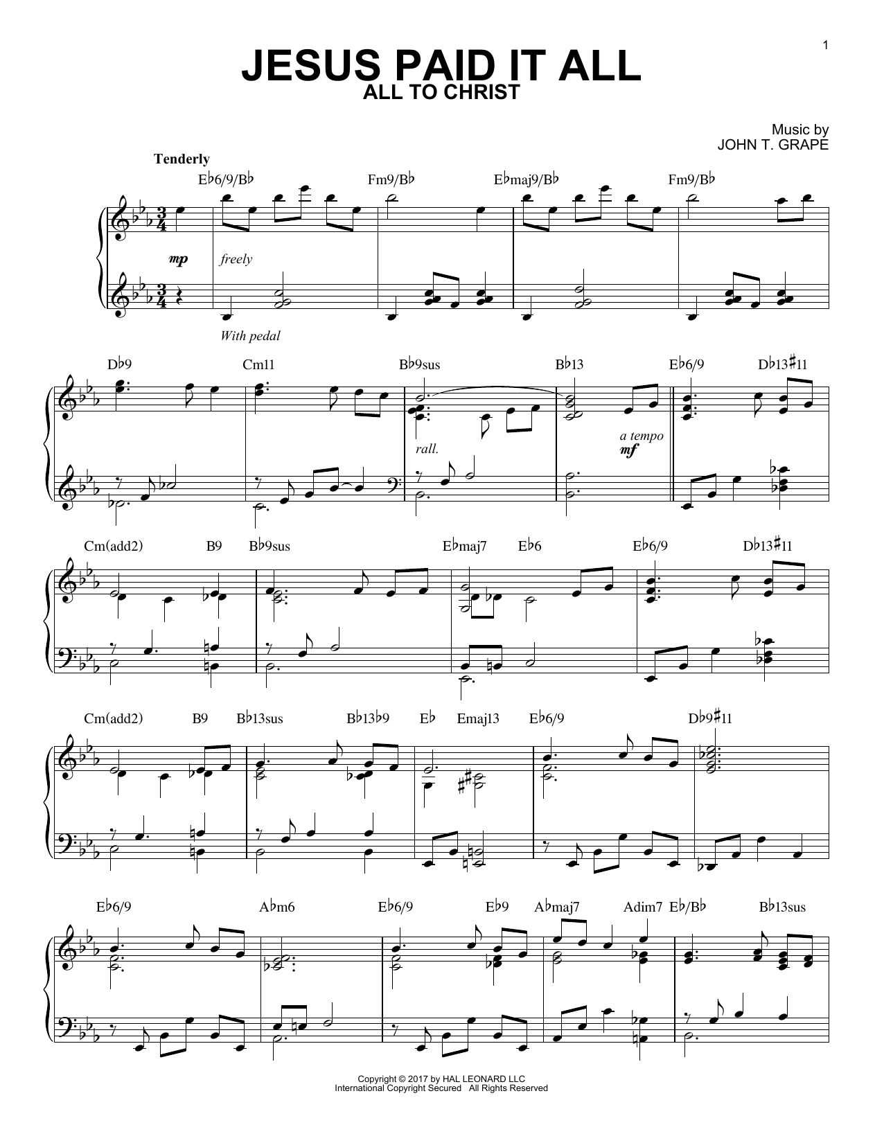 Download Elvina M. Hall 'Jesus Paid It All' Digital Sheet Music Notes & Chords and start playing in minutes
