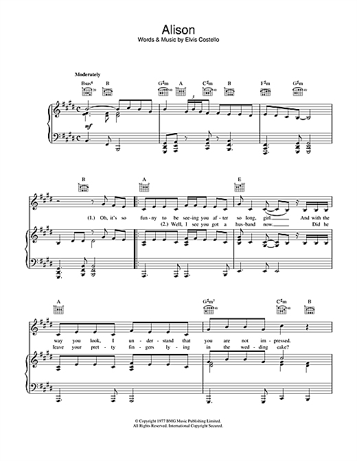 Download Elvis Costello 'Alison' Digital Sheet Music Notes & Chords and start playing in minutes