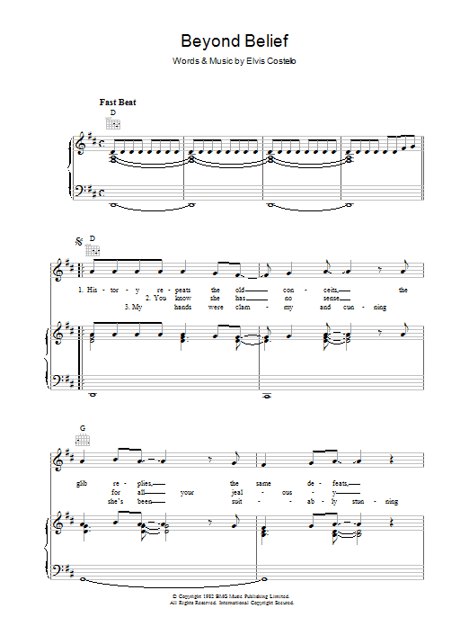 Elvis Costello Beyond Belief sheet music preview music notes and score for Piano, Vocal & Guitar (Right-Hand Melody) including 7 page(s)